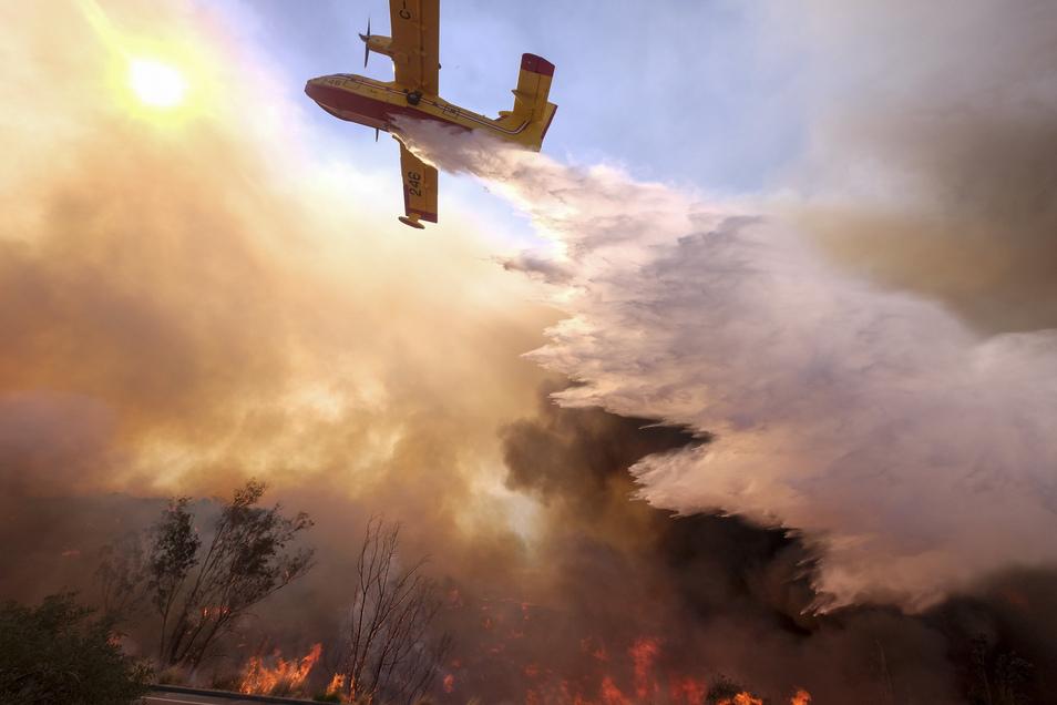 Ein Löschflugzeug ist bei einem Brand im Einsatz. (Symbolbild)