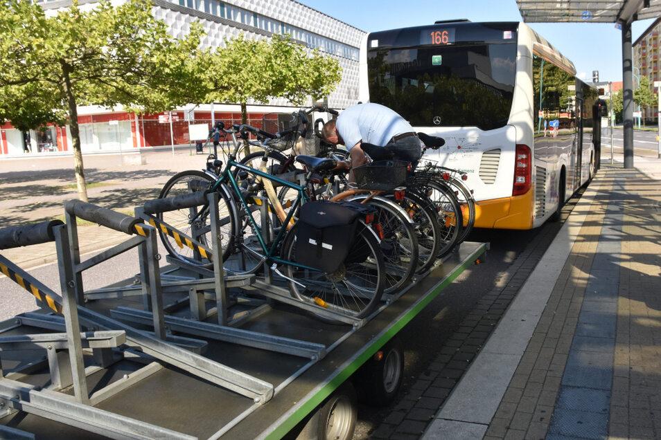 Eine Haltestelle des Fahrradbusses ist der Lausitzer Platz in Hoyerswerda.