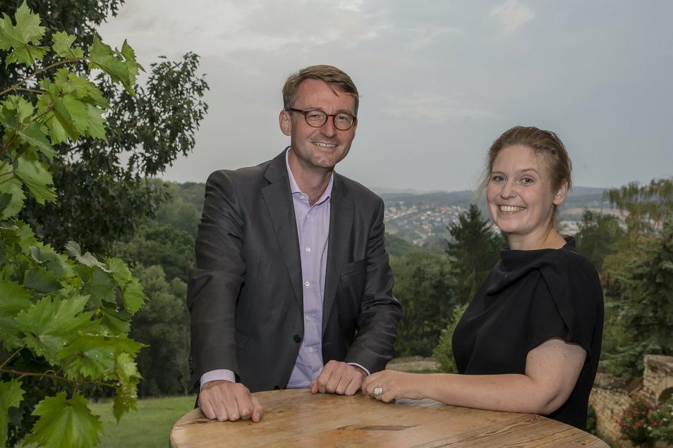 Innenminister Roland Wöller feierte seinen Einzug in den Landtag im September 2019 mit seiner Frau Corinna Franke-Wöller in Pesterwitz. Nun will auch sie ein Mandat.
