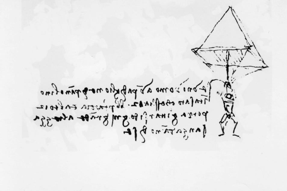 Eine der technischen Skizzen Leonardos – hier eine Art Fallschirm. Leonardo schrieb seine Gedanken dazu immer in Spiegelschrift.