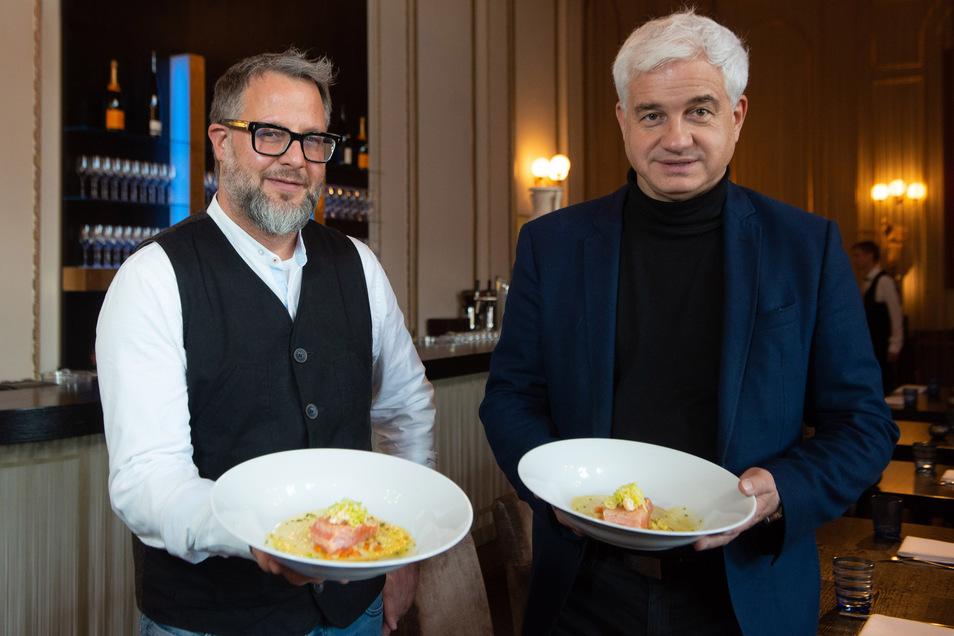 Festlicher soll das Speisen auf dem Ball werden. Stefan Hermann, Küchenchef des Semperopernballs, und Ballveranstalter Hans-Joachim Frey sorgen deshalb für eine neue gastronomische Inszenierung.
