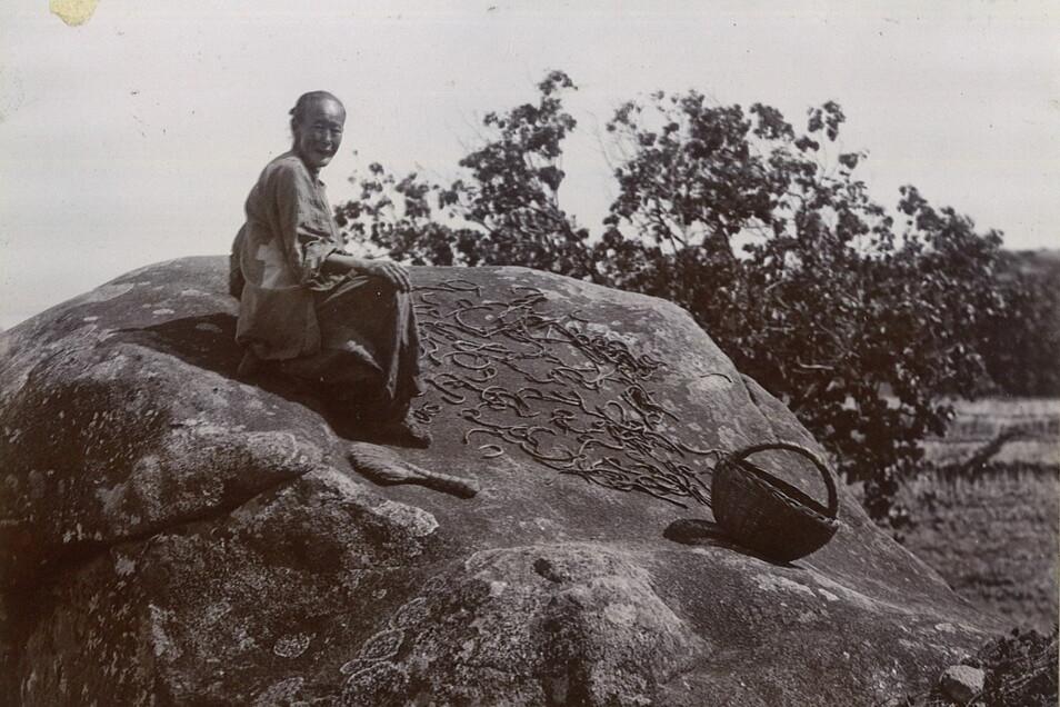 Ebenfalls Teil der Fotosammlung des Karl Kockisch: Eine Chinesin trocknet Aale auf einem Felsen.