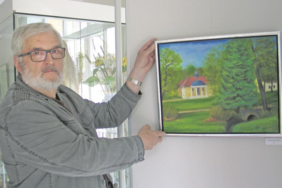 Auch den Badepark in Bad Muskau hat Rainer Dietmar Hennig auf einem seiner Bilder verewigt.
