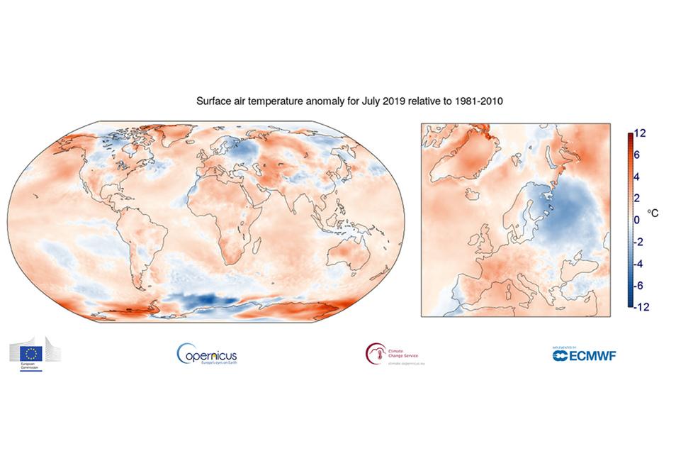 Oberflächentemperatur der Erde, hell bis braun zu warm, blau zu kalt. in der Summe für den Juli ergibt sich global +1,2 Grad.