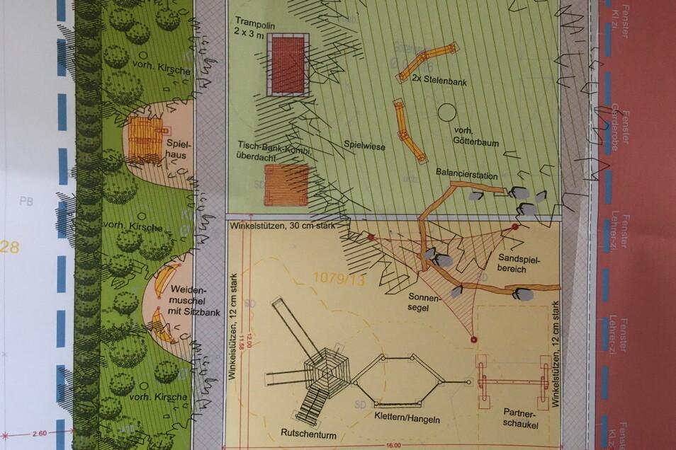 So soll der Pausenhof künftig aussehen. Links im Bild schießt sich der Remonteplatz an das Gebäude an.