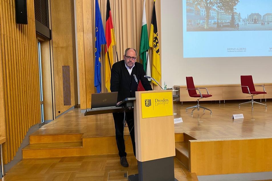 Er hat den Wettbewerb zur Neugestaltung des Königsufers und des Neustädter Marktes gewonnen und war Teilnehmer der GHND-Tagung am Freitag : Bernd Albers aus Berlin.