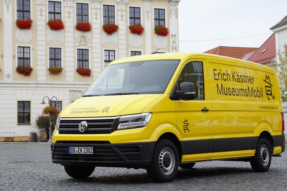 Das Erich Kästner Museumsmobil aus Dresden kommt auf den Markt nach Rabenau.
