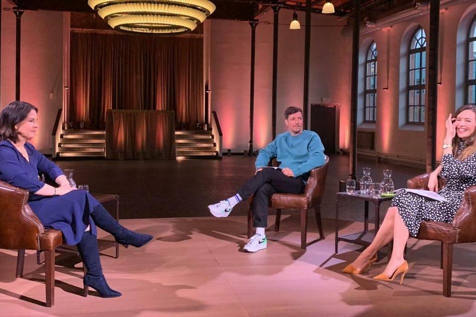 Ungewohnte Runde: Ihr erstes ausführliches TV-Interview gab Baerbock ProSieben