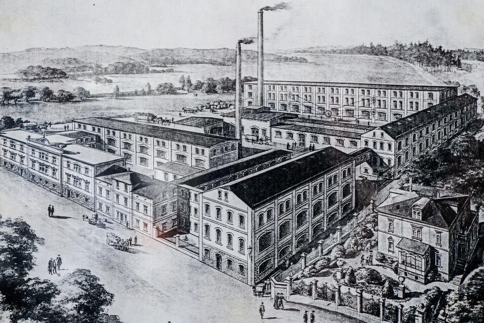 So saht die Textilfabrik Holtsch & Riethmüller in Ringenhain früher einmal aus. Im Gebäude an der Straße hat Saskia Riethmüller ihre Manufaktur eingerichtet.