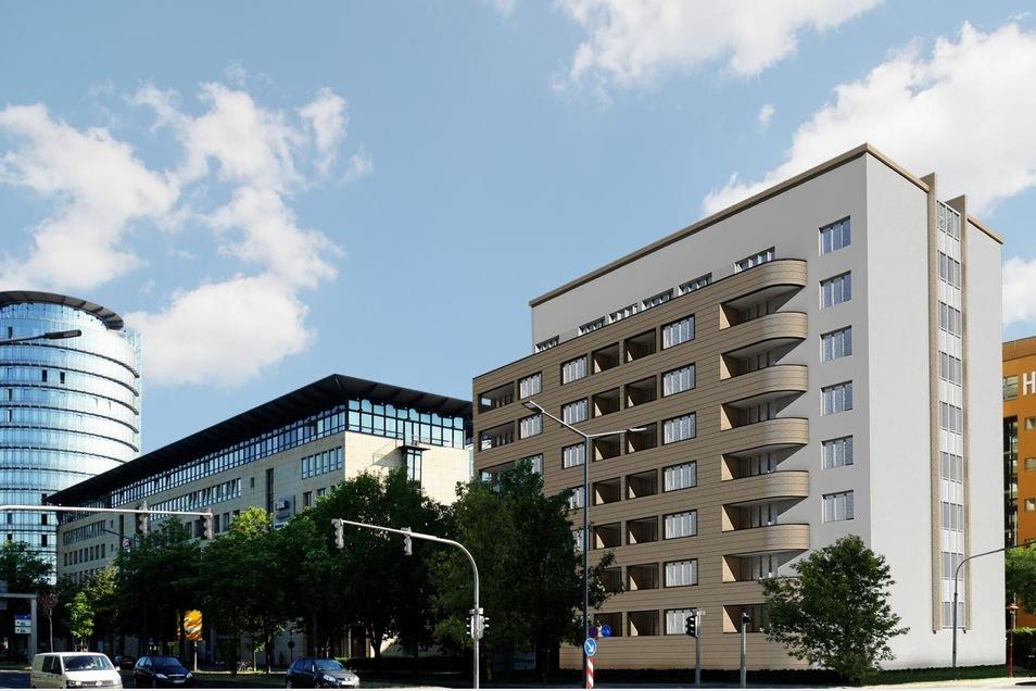 so soll der achtgeschossige Neubau aussehen. Geplant ist, dass er Ende nächsten Jahres fertig wird.