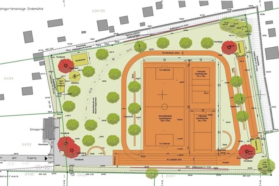 Die Planskizze der Planungsgruppe Neumann GmbH zeigt den Umfang des Umgestaltungsvorhabens für den Schulsportplatz an der Grundschule am Forst in Kamenz. Hier wird künftig auch ein Spielplatz integriert sein.