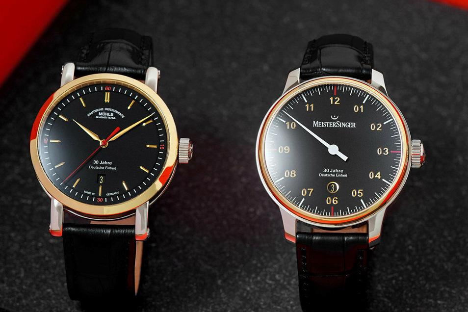 Das Uhrenset zur Deutschen Einheit: die Teutonia IV von Mühle und der MeisterSinger Nummer 3, beide kosten je 3.490 Euro, inklusive 100 Euro Spende für die Heinz-Sielmann-Stiftung.