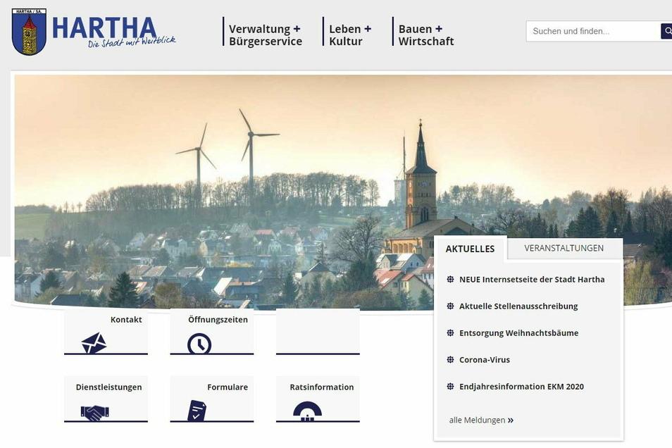 So sieht die Startseite des neuen Internetauftritts der Stadt Hartha aus.