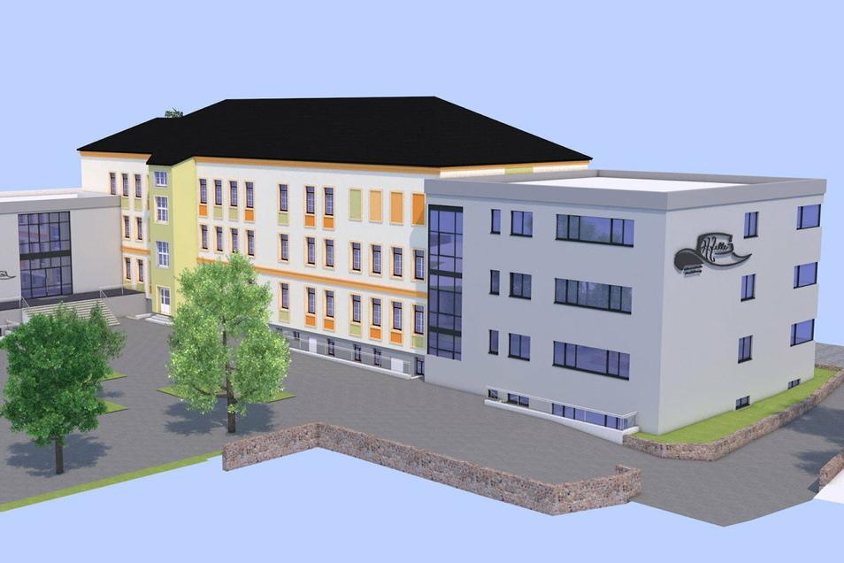 So wird der Komplex von der Hofseite aussehen. Rechts das Kopfgebäude.