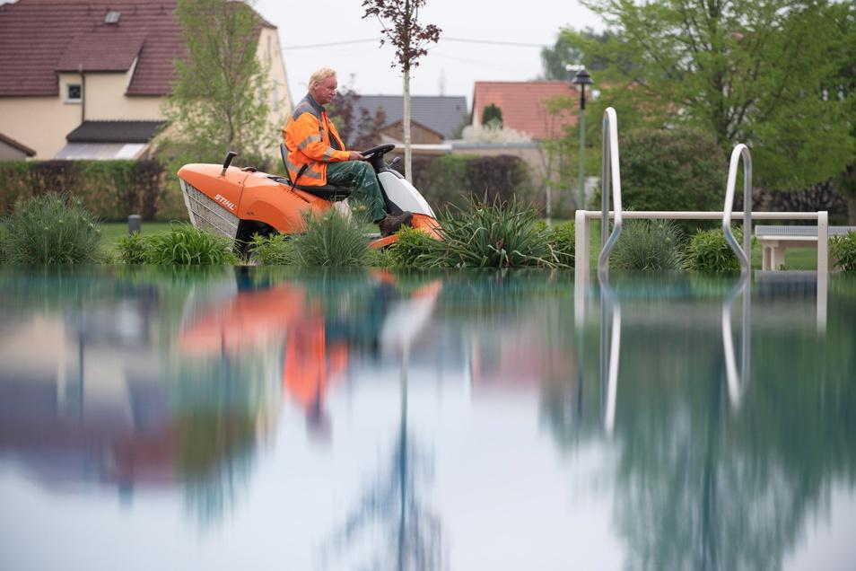 Im Ottendorfer Teichwiesenbad bereiten die Mitarbeiter des Bauhofes die Saison vor. Wann es hier allerdings genau losgeht, weiß keiner. Bauhofleiter Ringo Kühn hofft auf den Juni.