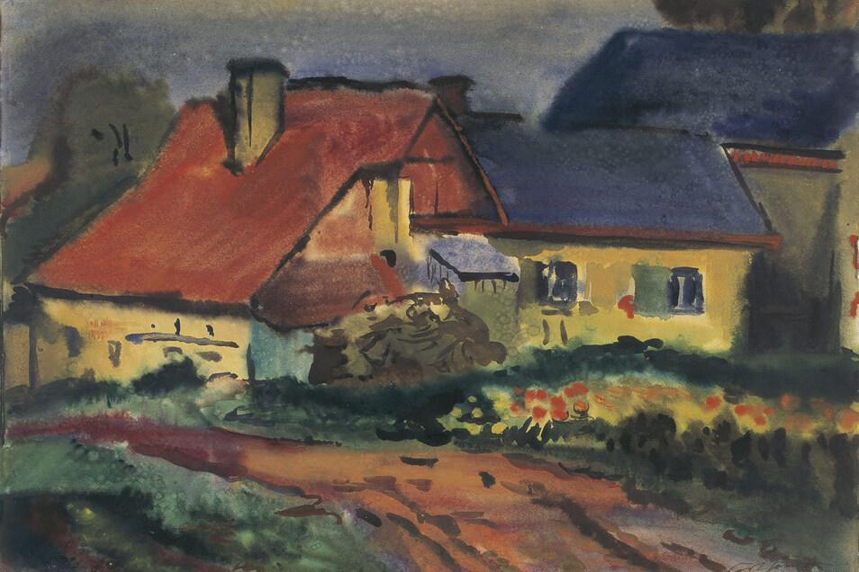 """Curt Querner malte """"Die alte Hütte in Börnchen"""" 1943. Das Aquarell stammt aus der Sammlung von Hellmuth Heinz."""