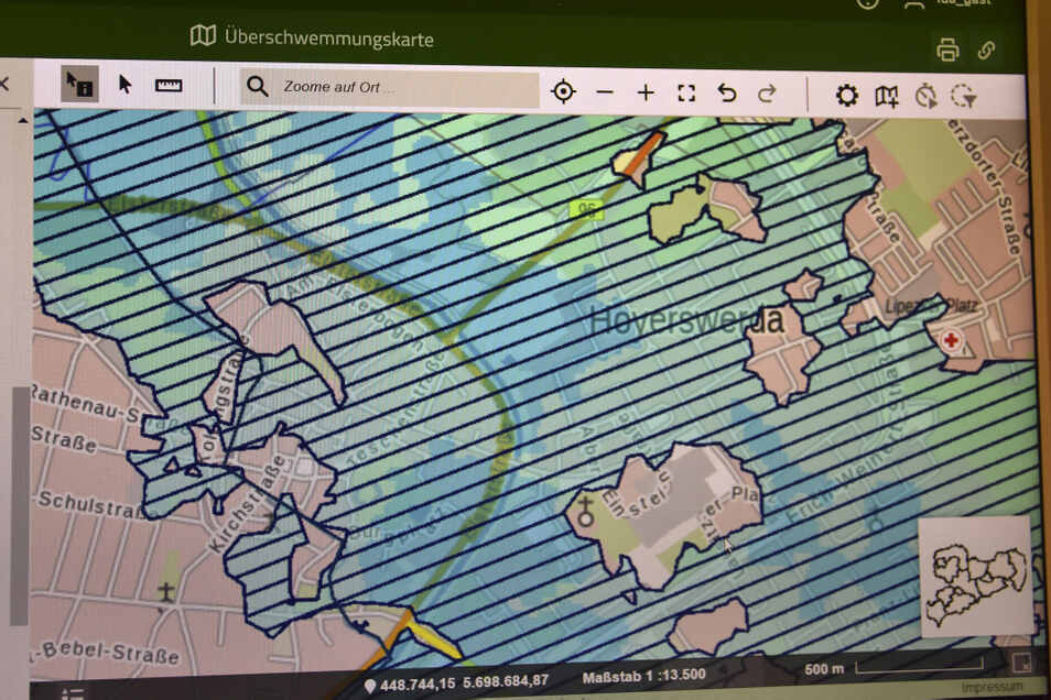 Auf der interaktiven Überschwemmungskarte kann man sich auch anzeigen lassen, welche Gebiete in Hoyerswerda in etwa überschwemmt werden, wenn bei Extremhochwasser die Deiche versagen.