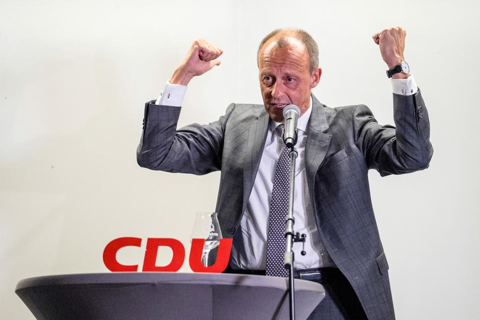 Friedrich Merz, CDU, sprach am Dienstag bei einer CDU-Wahlveranstaltung in der Landskron Brauerei in Görlitz.