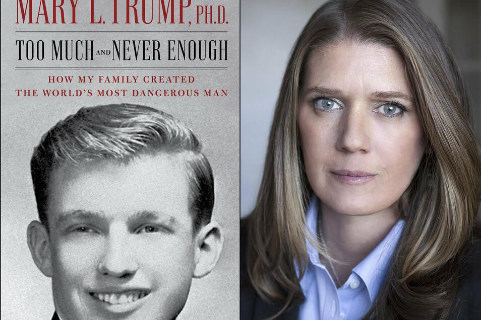 Diese von Simon & Schuster zur Verfügung gestellte Bildkombo zeigt das Titelbild des Enthüllungsbuches und die Autorin Mary Trump.