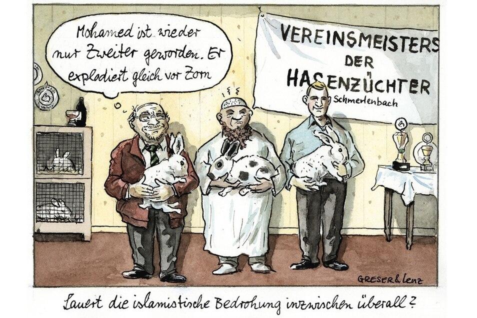 """Der Geflügelte Bleistift in Gold für die beste Einzelleistung ging an das Karikaturisten-Duo Achim Greser und Heribert Lenz für ihre Karikatur """"Hasenzüchter""""."""