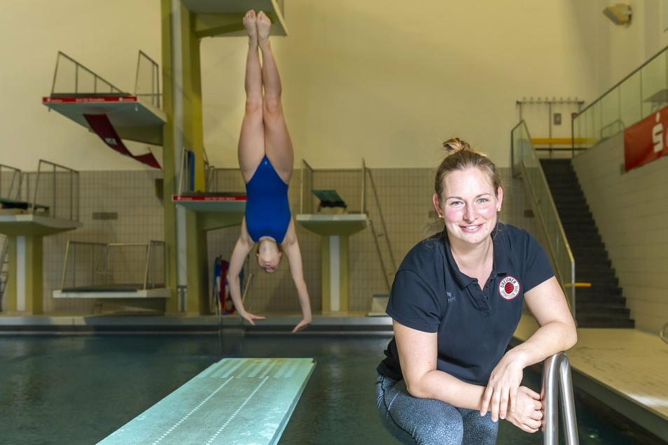 Julia Feist arbeitet seit 2016 als Trainerin am Bundesstützpunkt der Wasserspringer in Dresden, wo früher ihre Karriere als Brettspringerin auch begann.
