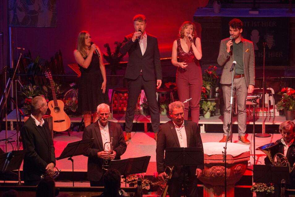 """Das Leipziger Ensemble """"Harmonix"""" musizierte gemeinsam mit dem Leisniger Posaunenchor. Das war eine Premiere."""