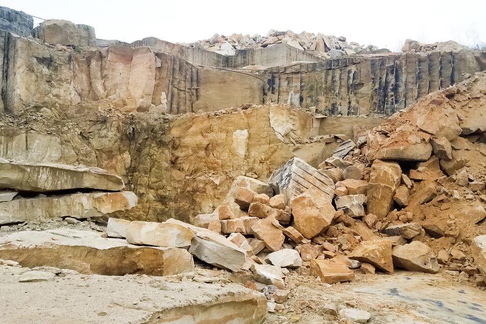 In diesem Steinbruch an der Mühlleite bei Lohmen werden die Sandsteine für die Augusutbrücke abgebaut.