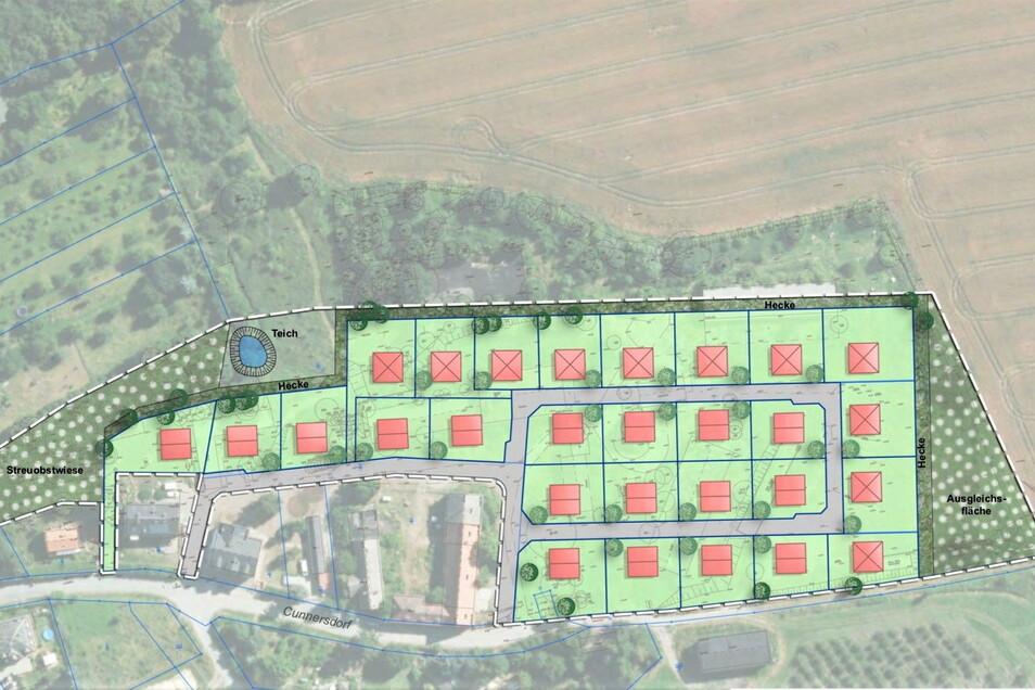 Geplantes Wohngebiet in Cunnersdorf: Bis zu 27 Bauplätze für neue Einfamilienhäuser.