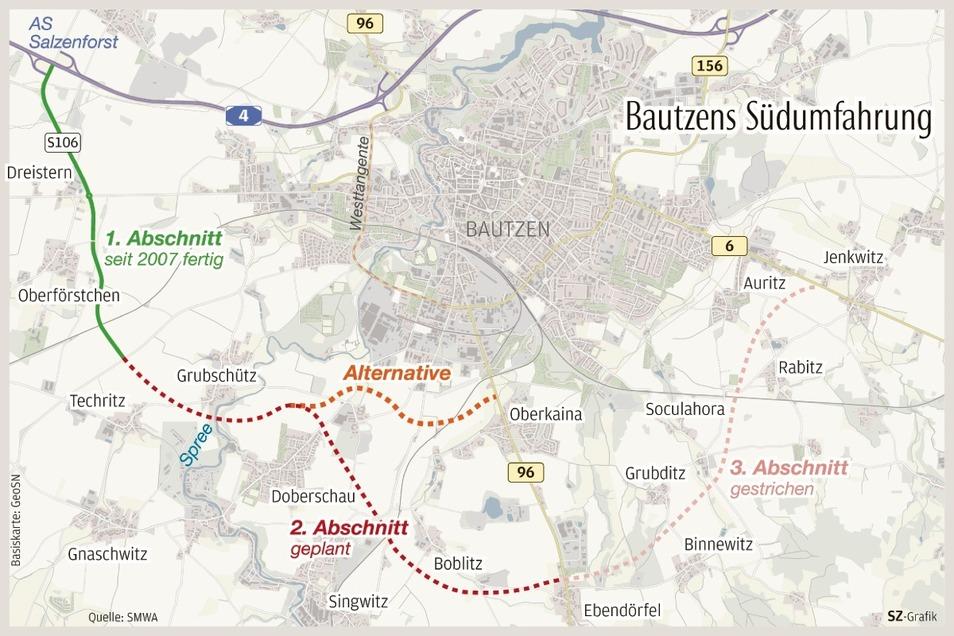 Zwei mögliche Trassenvarianten für die Südumfahrung gibt es. Die stadtnahe Variante wäre aus Umweltsicht etwas günstiger, sagt das Lasuv.