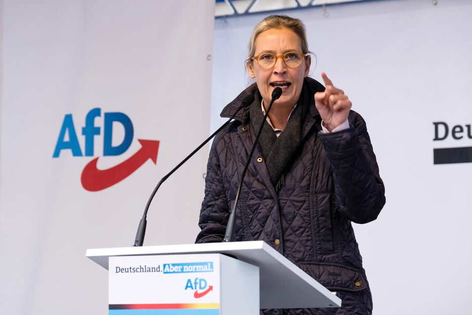 Alice Weidel bei einer Wahlkampfveranstaltung der AfD auf dem Marienplatz. Görlitz.