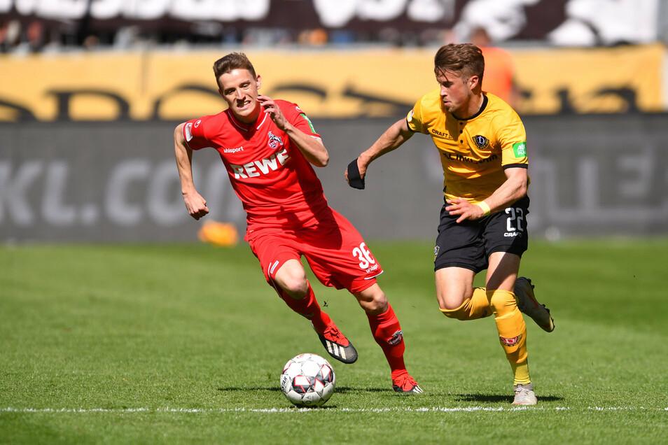 Einen seiner Kurzeinsätze für den 1. FC Köln hatte Niklas Hauptmann im April 2019 beim 0:3 gegen Dynamo mit Patrick Möschl (r.) in Dresden.