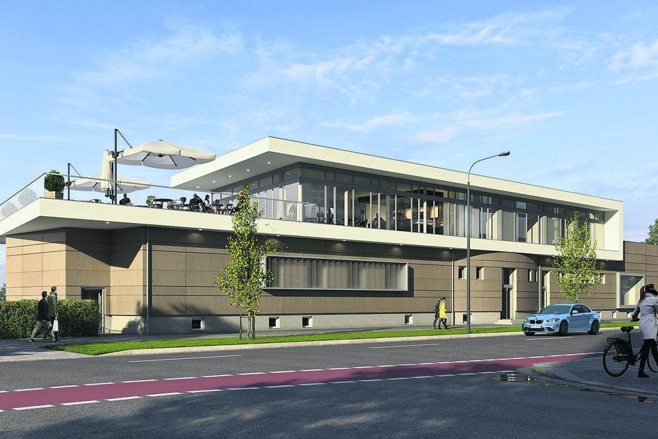 Viel Platz, um im Freien zu sitzen, soll das umgebaute Gebäude am Käthe-Kollwitz-Ufer künftig bieten.