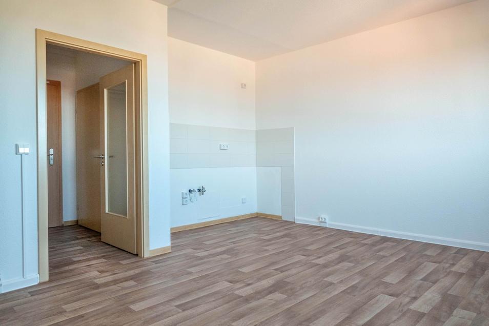Die Apartments im Haus haben einen kombinierten Wohn- und Küchenbereich. Nebenan (links, nicht im Bild), befindet sich ein separates Schlafzimmer.