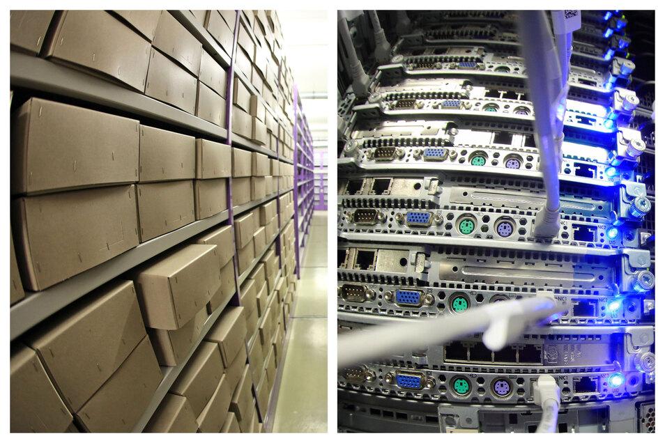 Bisheriges Staatsarchiv in Kartons (l.) und das neue, auf Servern gespeicherte.