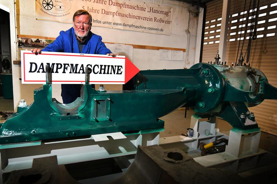 Dieter Kranz kann die Lengenfelder Dampfmaschine inzwischen komplett restauriert präsentieren.
