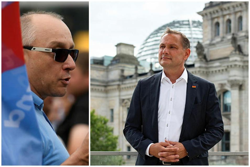 AfD-Bundessprecher Tino Chrupalla (rechts) vermeidet es, sich von Parteifreund Jens Maier zu distanzieren.