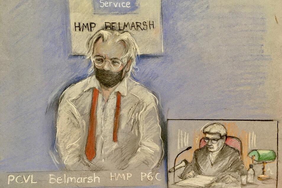 London: Diese Gerichtszeichnung von Elizabeth Cook zeigt Wikileaks-Gründer Julian Assange, der per Videoverbindung vor dem High Court in London erscheint.