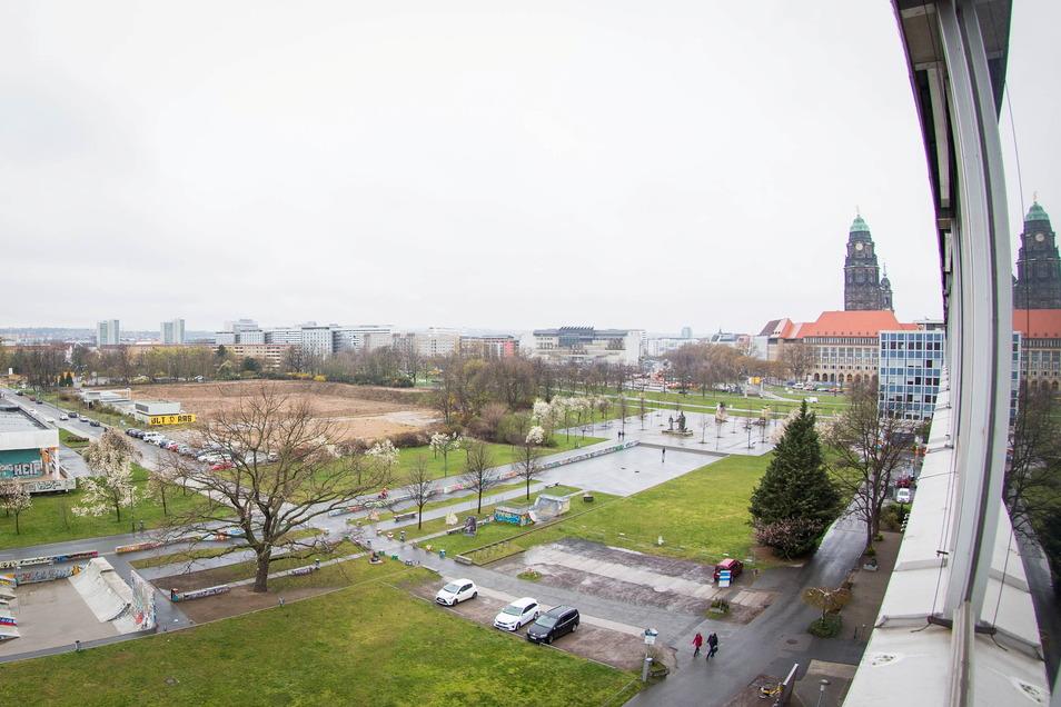 Auf dem Areal zwischen Bürgerwiese und St. Petersburger Straße soll die erste Etappe der Lingnerstadt entstehen.