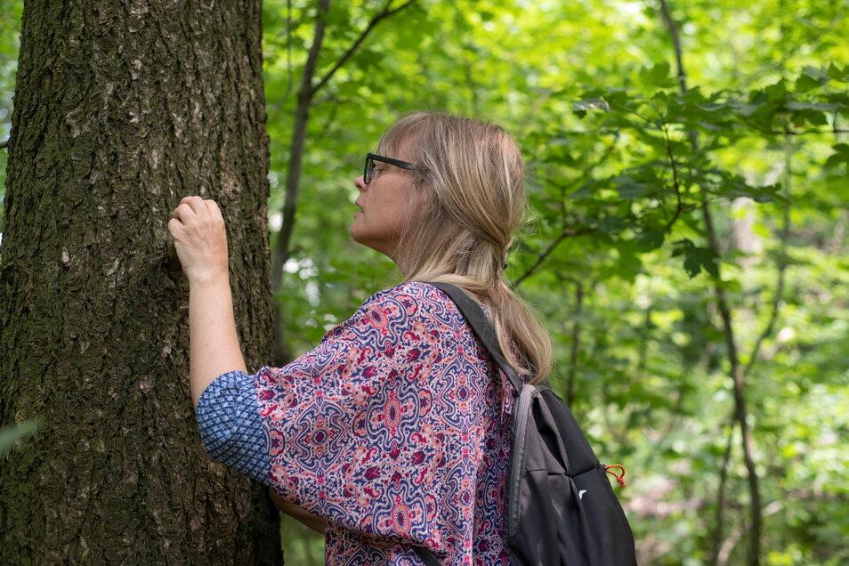 Heike Hilsberg schaut ganz genau hin bei der Suche. Manchmal gibt es kryptische Hinweise auf das Versteck.