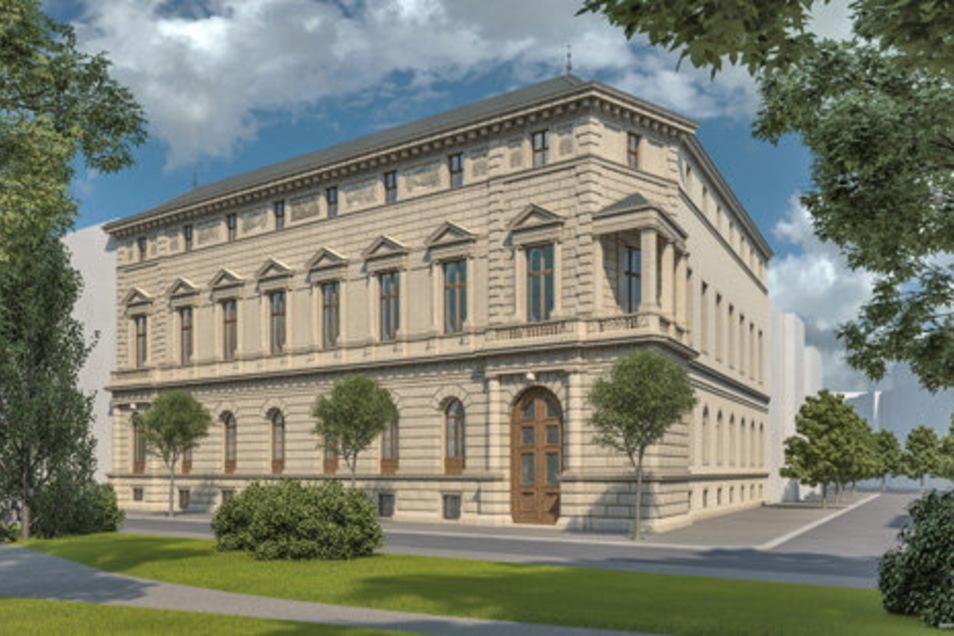So könnte das Palais Oppenheim aussehen, die Visualisierung stammt von Andreas Hummel, der sich mit seinem Büro Arte4D auf Ansichten historischer Architektur spezialisiert hat.