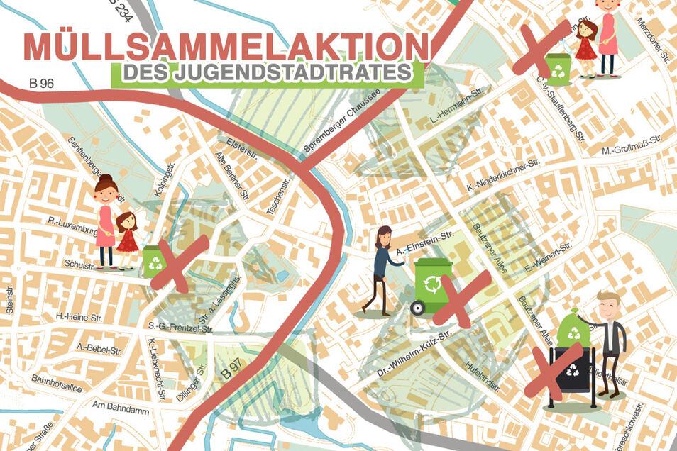 An vier zentralen Stellen (hier grob dargestellt) kann man beim Jugendstadtrat am 10. und 11. Oktober Straßenmüll abliefern.