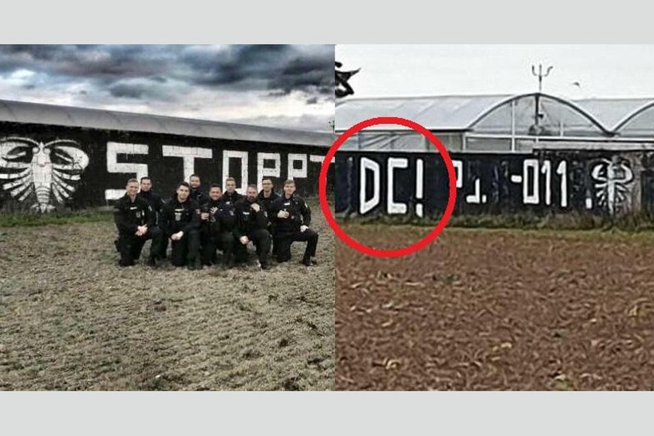 Neun Polizisten posierten einer von Rechtsextremen beschmierten Wand. Hinterließen sie auch rechte Symbole?