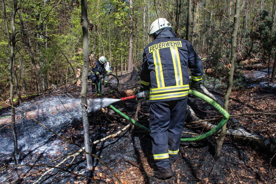Der Waldbrand hat sich schnell verbreitet. Die Kameraden mussten mit viel Wasser vorgehen.