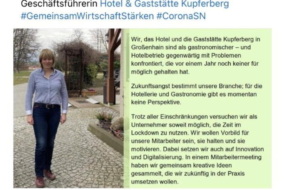 Seit dieser Woche ist diese Facebook-Kampagne der IHK Dresden im Internet zu sehen. Darin kommen Unternehmer zu Wort: als Erstes das Großenhainer Hotel und Gaststätte am Kupferberg.