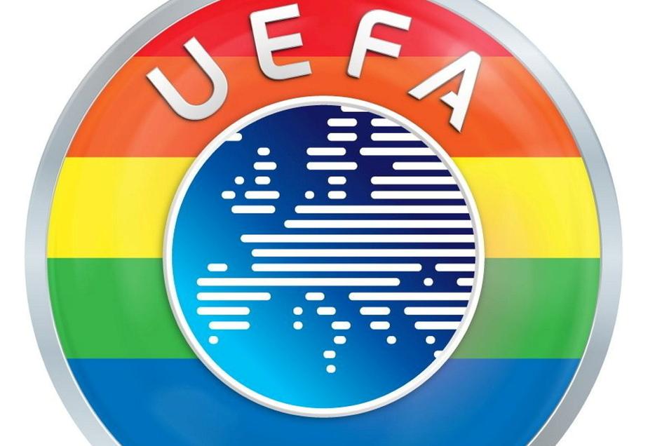 In den sozialen Netzwerken der Uefa erstrahlt das Logo seit Mittwochmittag in Regenbogenfarben. Die Arena in München darf dennoch nicht in diesen Farben beleuchtet werden.