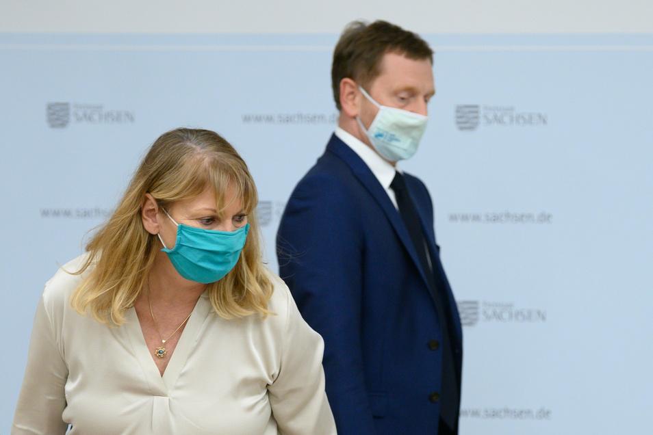 Sozialministerin Petra Köpping (SPD) und Ministerpräsident Michael Kretschmer (CDU): Etliche Reibungspunkte.