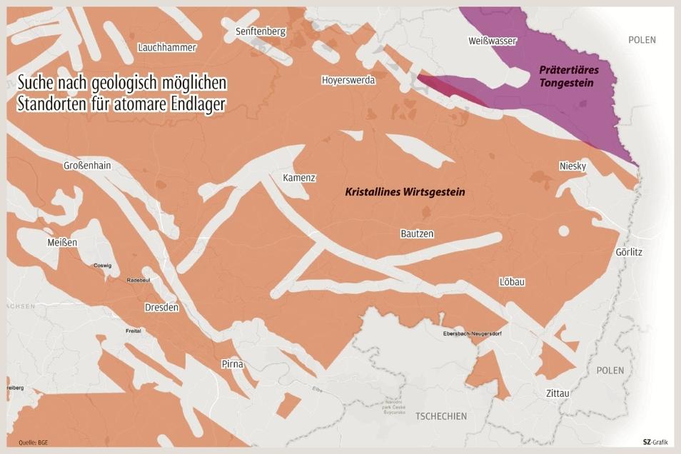 Teile des Oberlandes in den Landkreisen Bautzen und Görlitz sowie eine Fläche zwischen Niesky und Weißwasser zählen zu jenen Gebieten, die weiter als Standort für ein atomares Endlager infrage kommen.