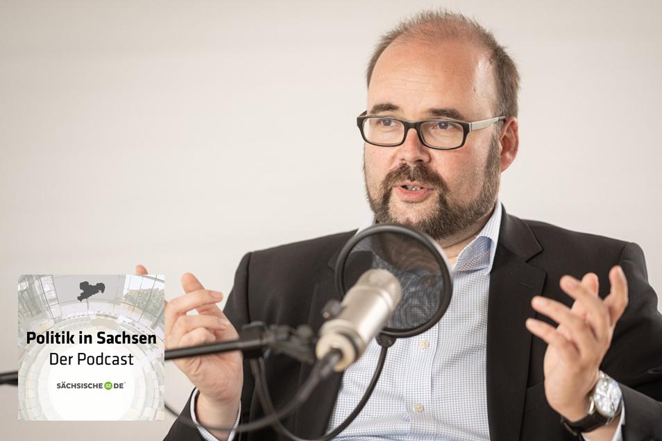 """Sachsens Kultusminister Christian Piwarz zu Gast im Podcast """"Politik in Sachsen"""" bei Sächsische.de."""