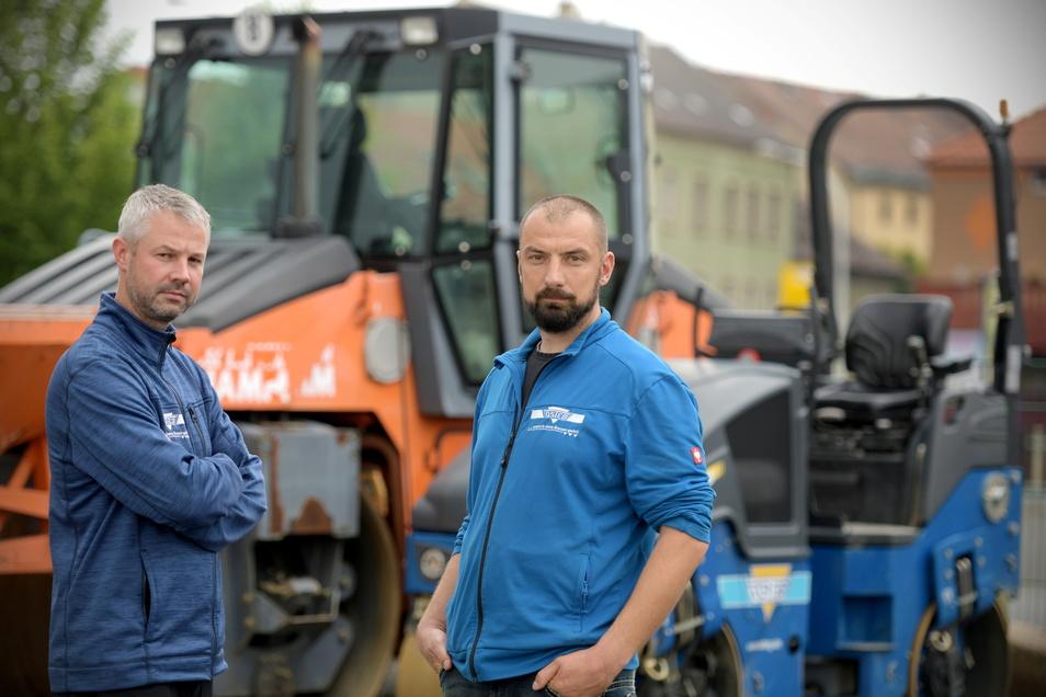 Die Inhaber der Zittauer Firma Osteg Jan Wildenhain (l.) und Marc Matthäi sind sauer, denn wiederholt waren Diebe auf dem Geschäftsgelände.