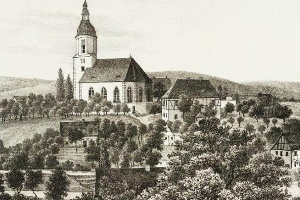 Hainewaldes Kirche wurde von unseren Vorfahren als weithin sichtbare Landmarke gern gezeichnet.
